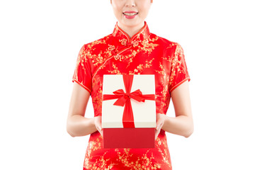 Gift woman giving chinese new year present