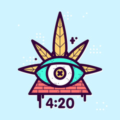 All seeing eye cannabis leaf triangle vector hipster illustration