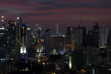 Night sky and city light from building in Bangkok, Thailand