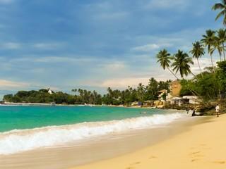 Beautiful tropical ocean beach in Sri Lanka