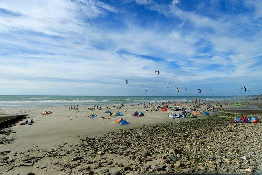 kitesurf on the beach of Wimereux , pas de calais , hauts de France , France