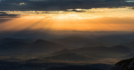 Sunset in the Montenegro mountains