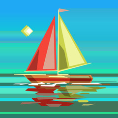 Stylized sailing boat on sea surface