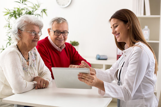 Senior couple on consultation with a doctor