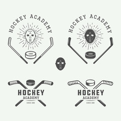 Set of vintage hockey emblems, logos, badges, labels