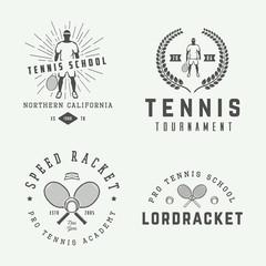 Set of vintage tennis logos, emblems, badges, labels