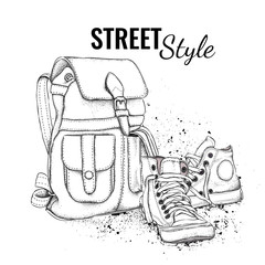 Hand drawn Vector Backpack and sneakers. Vector illustration