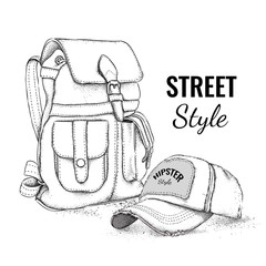 Hand drawn Vector Backpack and cap. Vector illustration