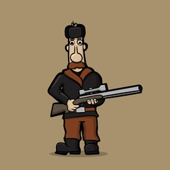 Caricature of mustachioed hunter with a sniper rifle
