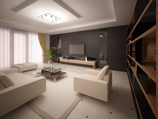 Modern living room in a minimalist style with dark back background.