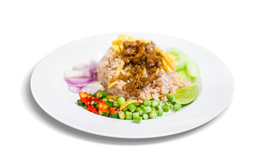 Thai food, Rice seasoned with shrimp paste in white plate