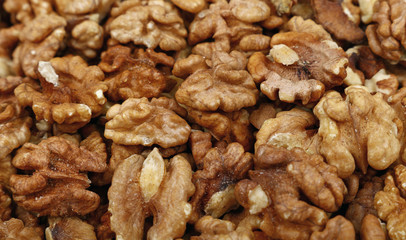 Shelled walnuts close up