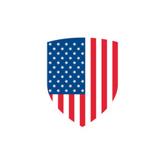 Vector shield with USA flag. USA shield icon