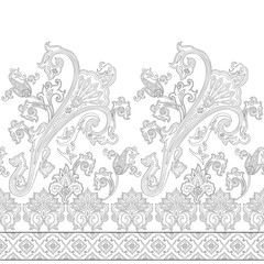 Seamless paisley pattern, decorative border for textile, wrapping, wallpaper