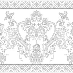 Seamless paisley pattern, decorative border for textile
