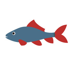 blue fish with red fins.