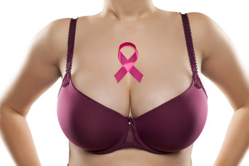 Pink ribbon and woman's breasts. Breast cancer concept