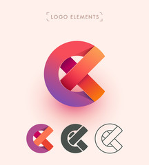Vector abstract logo design. Can be used as E, X, C origami paper letters. Branding elements collection.