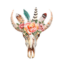 Watercolor isolated bull's head with flowers and feathers on white background. Boho style. Skull for wrapping, wallpaper, t-shirts, textile, posters, cards, prints