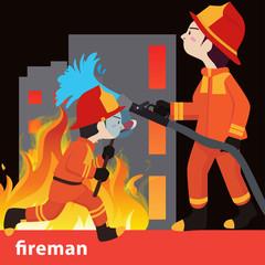 Fireman collection vector illustration