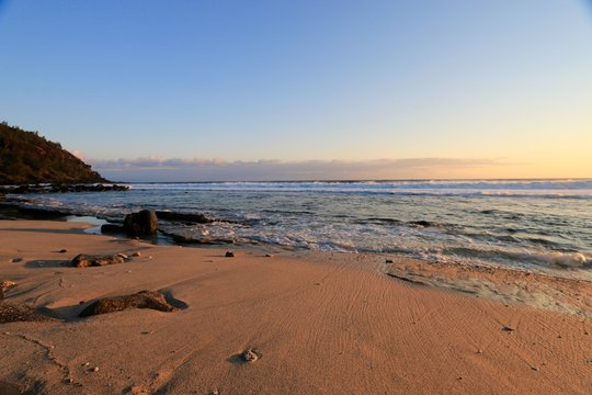 beach of GRANDE ANSE at sunset , reunion island , France, october 2016