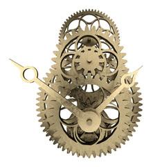antique brass clock mechanism 3d rendering