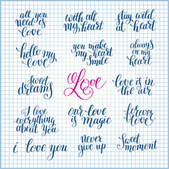 set of handwritten lettering positive quote about love to valent
