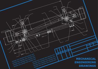 Subject vector background. Mechanical Engineering. Technical illustration black. Frame