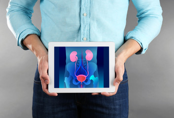Man with tablet in hands. Urinary system on screen. Urology concept.