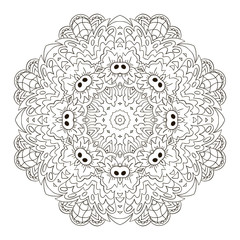Coloring Mandala. Zentangl round ornament. Relax, meditation