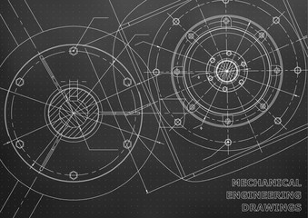 Mechanical engineering drawings. Background for inscription. Vector. Black and white. Points