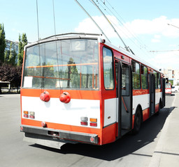 Trolley bus on a road