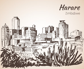 Harare cityscape sketch. Isolated on white background