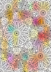Multicolored book sheet. Book cover. Mandala. Zentangl motives. Relax style