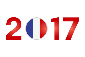Year 2017 with France Flag