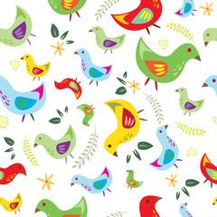 Hand drawn cute pattern with bird.
