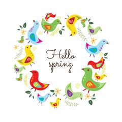 Hello Spring. Hand drawn poster with  round bird frame.