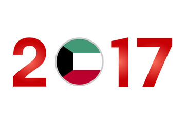 Year 2017 with Kuwait Flag