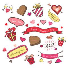 Hand drawn set for Valentine's day.