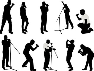 singers silhouette collection - vector