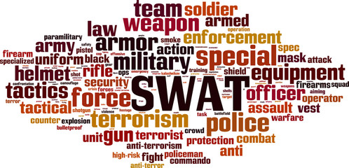 SWAT word cloud concept. Vector illustration