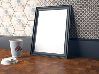 Mock up scene, coffee, poster, 3d render