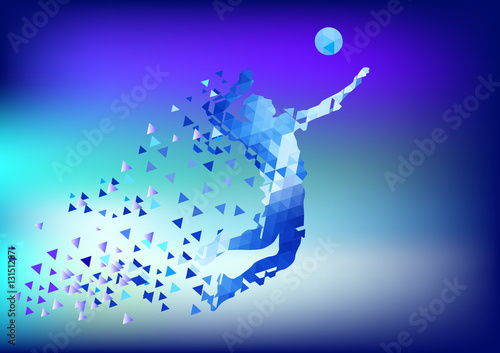 "Illustration Abstract Volleyball Player Silhouette: ""Illustration Of Abstract Triangle Volleyball Player"