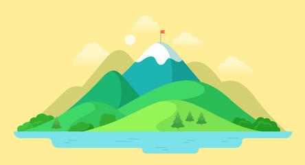 Flat mountain peak nature water landscape vector Summer vacation