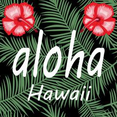 aloha Hawaii hibiscus palm leaves Illustration vector
