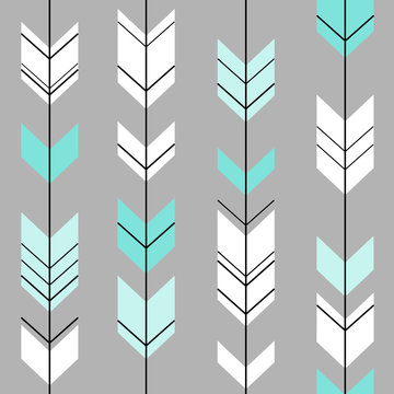 pastel arrow ethnic hipster blue and white on a gray background
