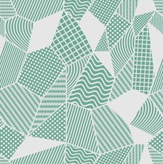 Gray and green tile with patchwork patterned elements. Composed from polygonal shapes with simple geometric patterns.