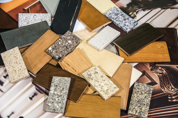 Kitchen wood door and stone countertop color samples