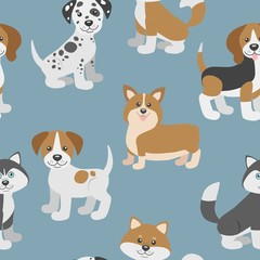 Vector seamless pattern with cute cartoon dog puppies. Can be used as a background, wallpaper, fabric and for other design.