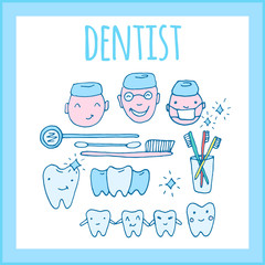 Dental practice poster, template. Kawaii dentist - vector set of hand drawn objects. Cute sketch with doctor, teeth, toothbrush, smile and dental tools